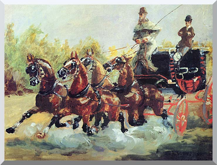 Henri de Toulouse Lautrec Count Alphonse de Toulouse Lautrec Driving his Mail Coach stretched canvas art print