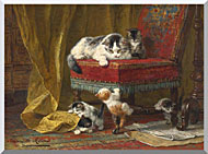 Henriette Ronner Knip Mothers Pride stretched canvas art