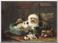 Henriette Ronner Knip Playful Puppies stretched canvas art
