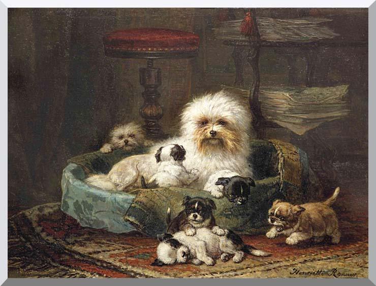 Henriette Ronner Knip Playful Puppies stretched canvas art print