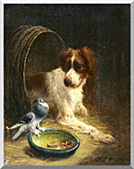 Henriette Ronner Knip Spaniel Defending His Dinner stretched canvas art