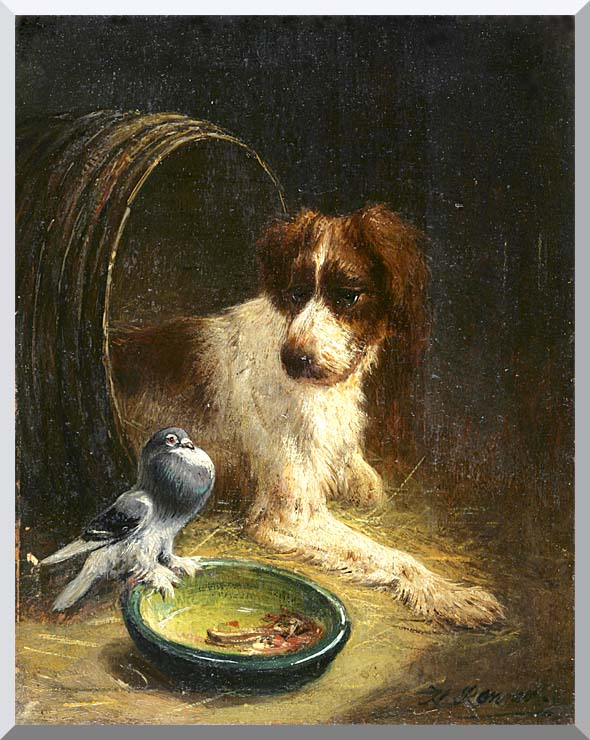 Henriette Ronner Knip Spaniel Defending His Dinner stretched canvas art print
