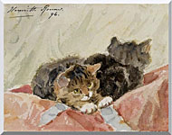 Henriette Ronner Knip The Awakening stretched canvas art