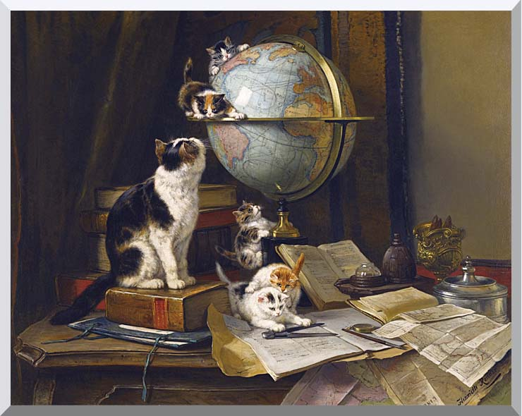 Henriette Ronner Knip The Globetrotters stretched canvas art print