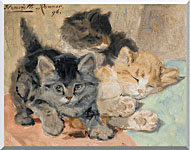 Henriette Ronner Knip Three Kittens stretched canvas art