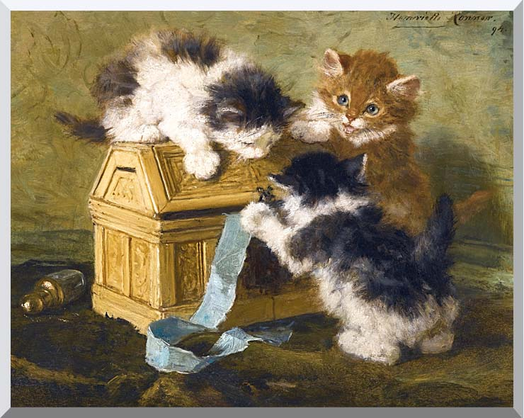 Henriette Ronner Knip Three Kittens with a Casket and Blue Ribbon stretched canvas art print