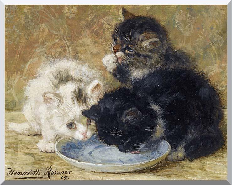Henriette Ronner Knip Three Kittens, Dinnertime stretched canvas art print