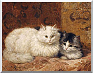 Henriette Ronner Knip Two Cats On A Cushion stretched canvas art