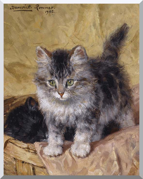 Henriette Ronner Knip Two Kittens in a Basket stretched canvas art print