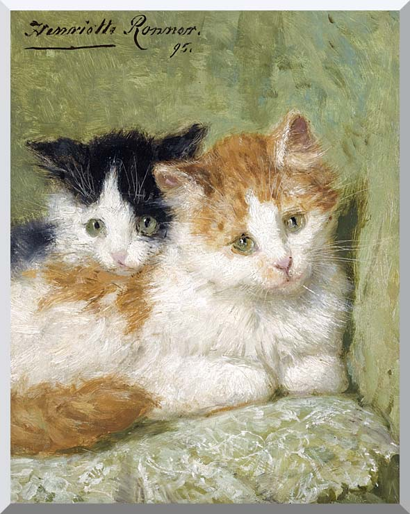 Henriette Ronner Knip Two Kittens Sitting on a Cushion stretched canvas art print