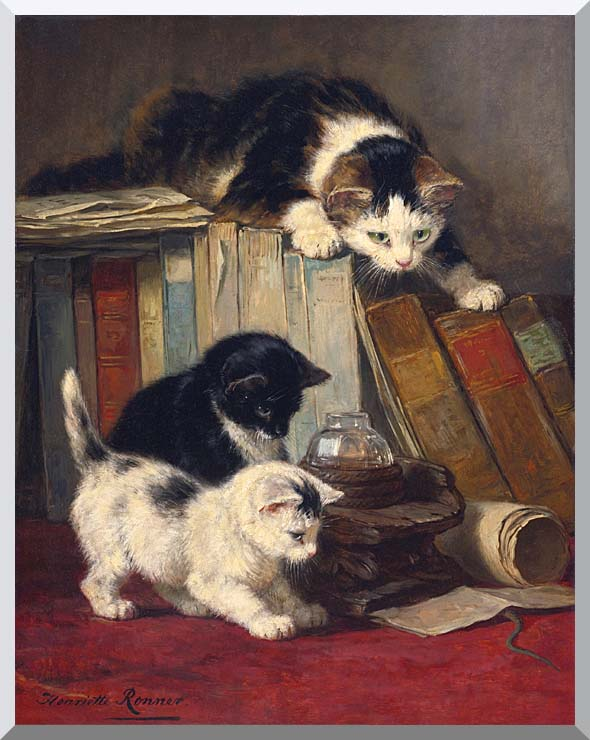 Henriette Ronner Knip Watching the Prey stretched canvas art print