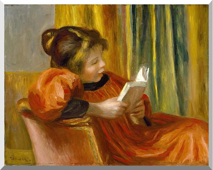 Pierre Auguste Renoir Girl Reading stretched canvas art print