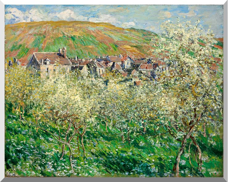 Claude Monet Flowering Plum Trees stretched canvas art print