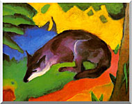 Franz Marc Blue Black Fox stretched canvas art