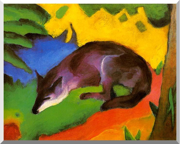 Franz Marc Blue Black Fox stretched canvas art print