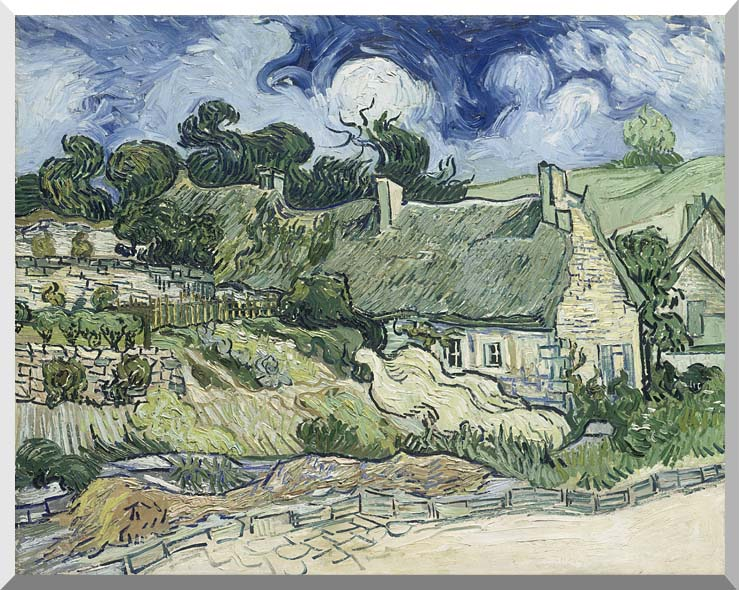 Vincent van Gogh Thatched Cottages at Cordeville stretched canvas art print