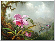 Martin Johnson Heade Orchids And Hummingbirds stretched canvas art