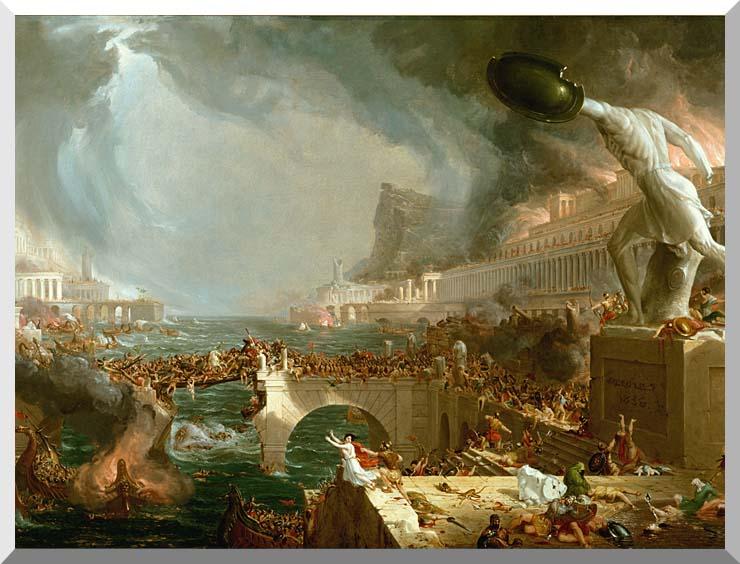 Thomas Cole The Course of Empire Destruction stretched canvas art print