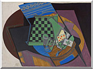 Juan Gris Checkerboard And Playing Cards stretched canvas art