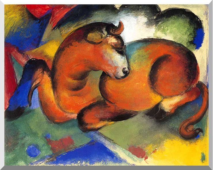 Franz Marc Red Bull stretched canvas art print