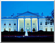 Visions of America White House In Evening Washington DC stretched canvas art