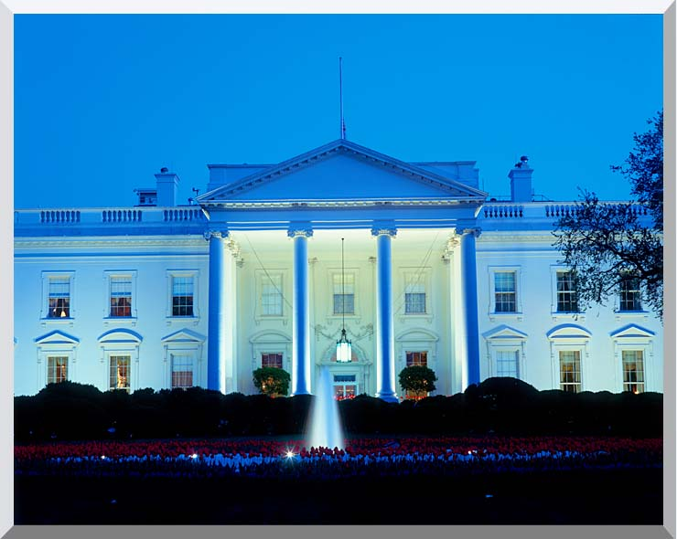 Visions of America White House in Evening, Washington, DC stretched canvas art print