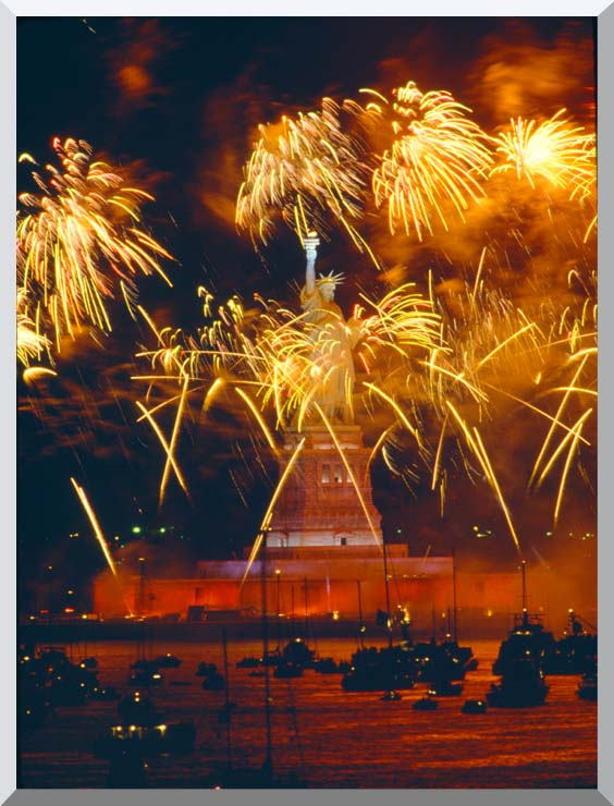 Visions of America Statue of Liberty, Liberty 100 Celebration Fireworks Finale stretched canvas art print