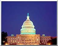 Visions of America U S Capitol Building At Night Washington D C stretched canvas art