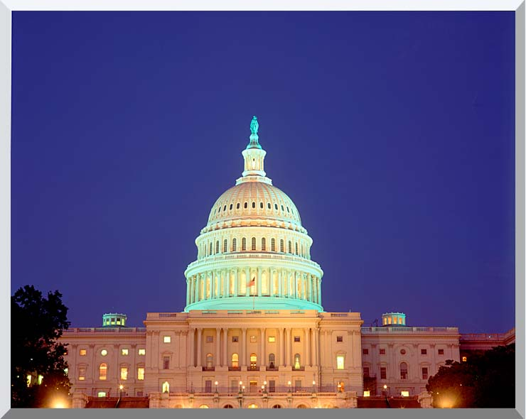 Visions of America U S Capitol Building at Night, Washington, D C stretched canvas art print