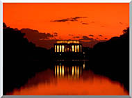 Visions of America Lincoln Memorial At Sunset With Red Sky stretched canvas art