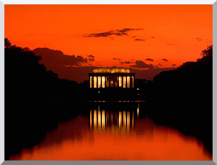 Visions of America Lincoln Memorial at Sunset with Red Sky stretched canvas art print