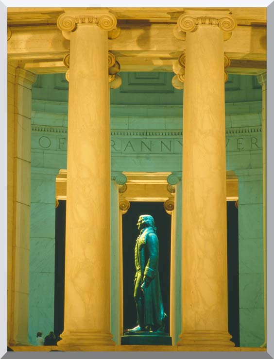 Visions of America Statue of Thomas Jefferson, Washington D C stretched canvas art print