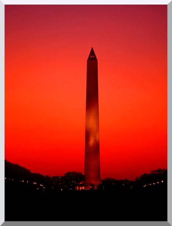 Visions of America Washington Monument at Sunset, Washington D C stretched canvas art print
