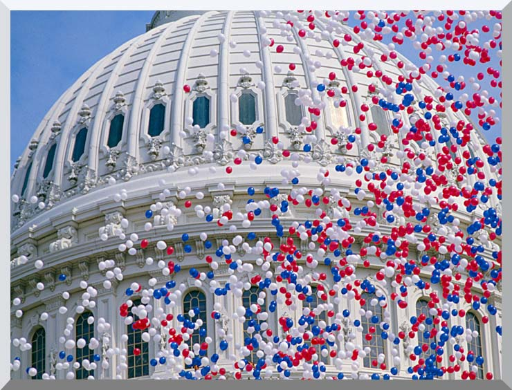 Visions of America U S Capitol Building Dome at Bicentennial Celebration stretched canvas art print