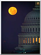Visions of America Full Moon Over U S Capitol In Washington D C stretched canvas art