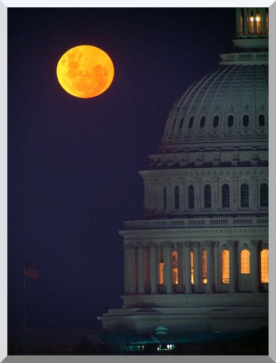 Visions of America Full Moon over U S Capitol in Washington, D C stretched canvas art print