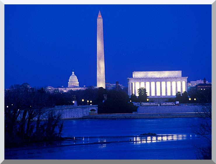 Visions of America Lincoln and Washington Monuments and U S Capitol stretched canvas art print