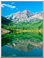 Visions of America Maroon Bell Mountain And Maroon Lake Colorado stretched canvas art