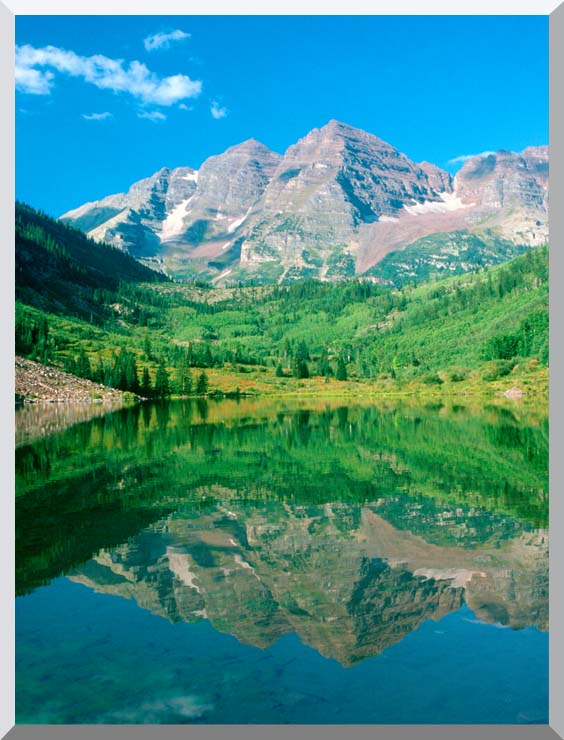 Visions of America Maroon Bell Mountain and Maroon Lake, Colorado stretched canvas art print