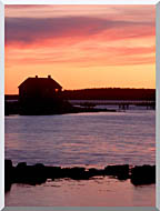 Visions of America House Silhouette At Sunrise Mt Desert Island Maine stretched canvas art