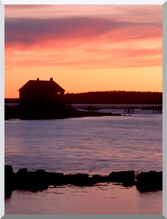 Visions of America House Silhouette at Sunrise, Mt Desert Island, Maine stretched canvas art print