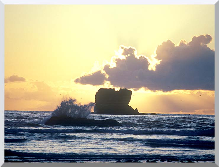 Visions of America Clouds at Sunset on Washington Coast stretched canvas art print