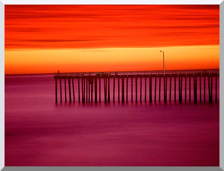 Visions of America Morro Bay Pier at Sunset, California stretched canvas art print