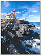 Visions of America Eagle Harbor Lighthouse Michigan stretched canvas art
