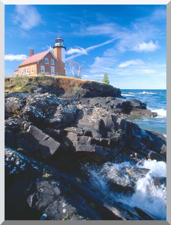 Visions of America Eagle Harbor Lighthouse, Michigan stretched canvas art print