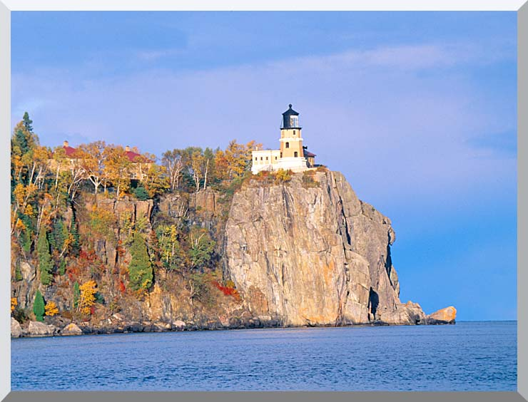 Visions of America Lighthouse in Autumn, Split Rock, Minnesota stretched canvas art print