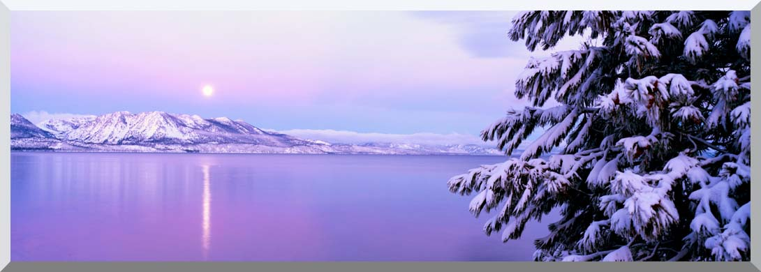 Visions of America Full Moon Rising over Lake Tahoe stretched canvas art print