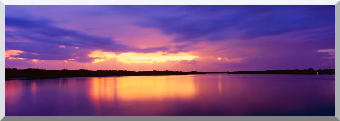 Visions of America Ocean and Pine Island at Sunset stretched canvas art print