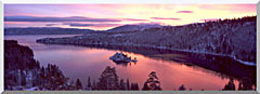 Visions of America Emerald Bay At Sunrise In Winter stretched canvas art