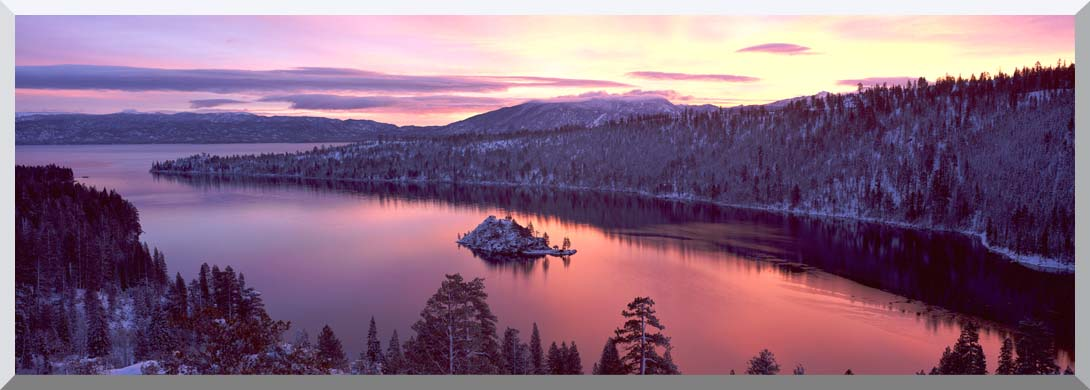 Visions of America Emerald Bay at Sunrise in Winter stretched canvas art print